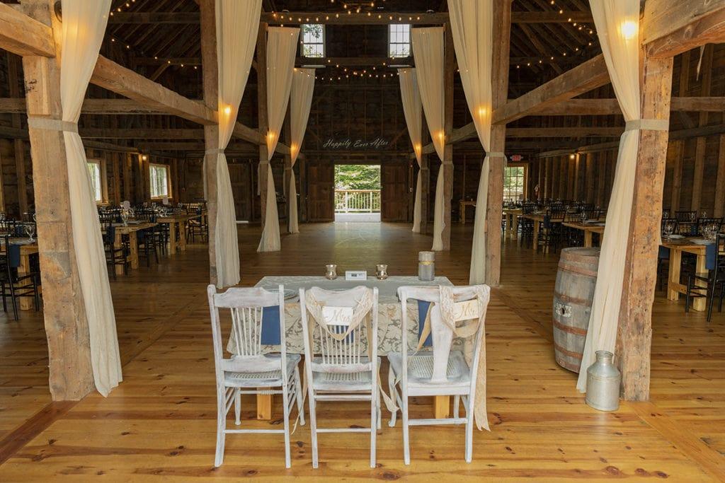 Inn At Fogg Farm Gray Maine Wedding Reception Inside Barn
