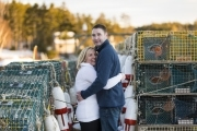 Sebasco Harbor Phippsburg Maine Engagement Session Couple Holding Hands by Lobster Traps